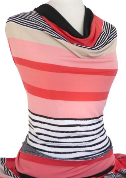 Knitwit Printed Jersey Knit Status Stripe Coral Black