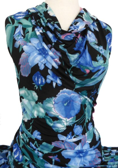 Printed Jersey Knit Opal Floral Blue Green