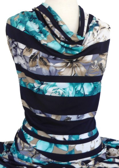 Knitwit Printed Jersey Knit Floral Navy Stripe