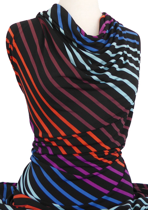 Knitwit Printed Jersey Knit Diagonal Stripe Multicolour