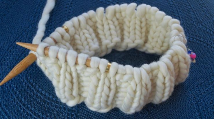 A couple of inches of circular knitting