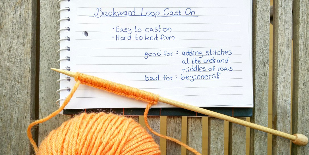 The backward loop cast on on a knitting needle with a notebook with a description
