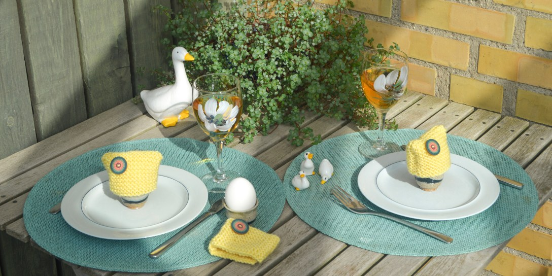 Easter table with knitted egg warmers