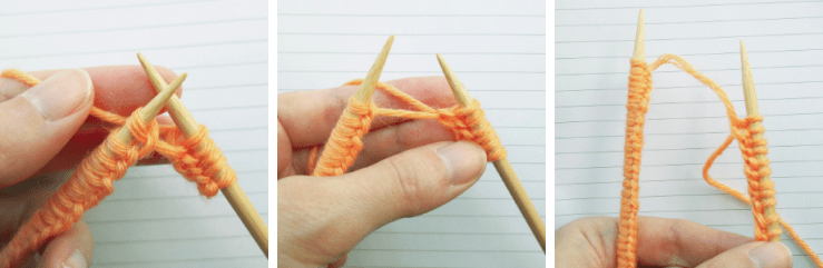 the yarn connecting the needles grow longer with every stitch