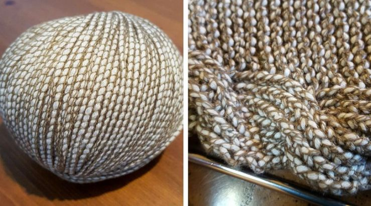 ball of yarn and detail of knitted shawl