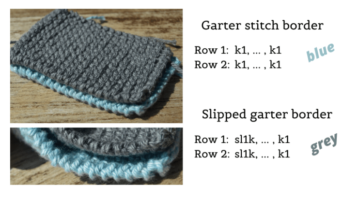knitted swatches with garter and slipped garter edges