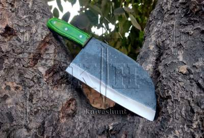 High carbon steel green pakka wood chef cleaver