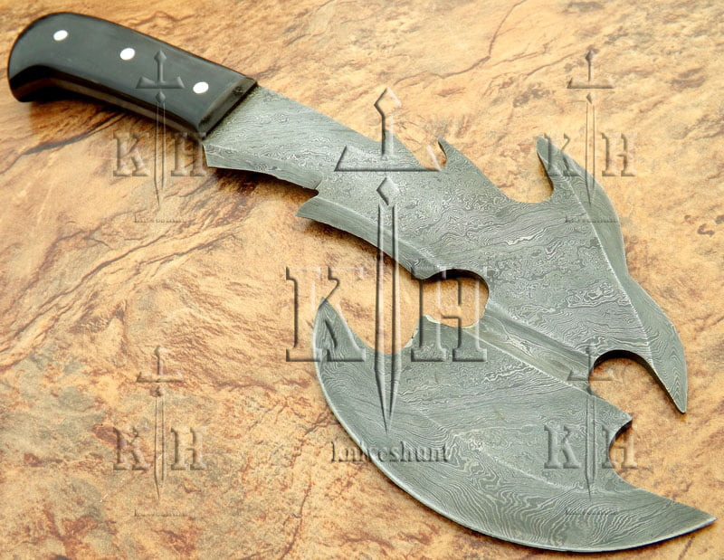 Damascus steel Axe for with leather pouch