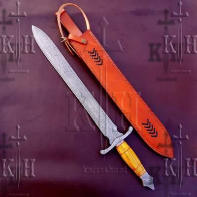 """27"""" Beautiful Damascus steel Sword With Olive Wood Handle"""