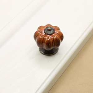 10Pcs/Set Ceramic Knobs with Colorful Knobs and Pumpkin Handles Drawer Ceramic Pulls for Cabinets, Kitchen and Bathroom Cabinets