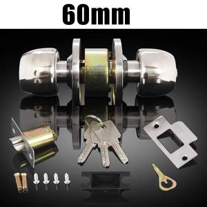 Adjustable Stainless Steel Round Ball Door Knobs Rotation Lock Knobset Handle Entrance for Bedrooms Living Rooms Bathrooms