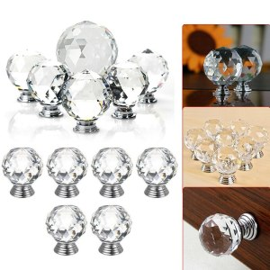 30mm Diamond Shape Design Crystal Glass Knobs Cupboard Drawer Pull Kitchen Cabinet Door Wardrobe Handles Hardware Accersories