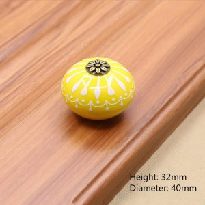 Ceramic Drawer Knobs and handles kitchen Cabinet door Handle Dresser Pulls furniture hardware Pull Yellow pink blue gray knob