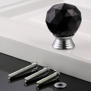 1pc Diamond handle Crystal Glass ball knob 30mm clear White Black furniture parts hardware kitchen Cabinet Drawer Pull screws
