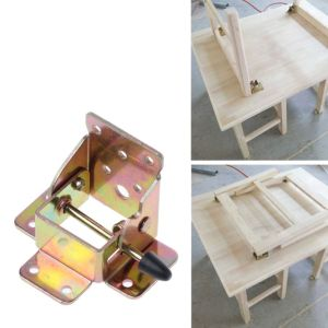 Drop Shipping 4X Iron Locking Folding Table Chair Leg Brackets Hinge Self Lock Foldable Hinges 55mmx60mmx75mm