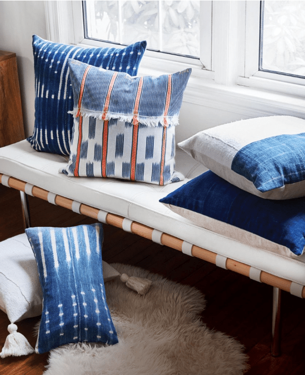 mudcloth and indigo pillows by Knob Thorn Home