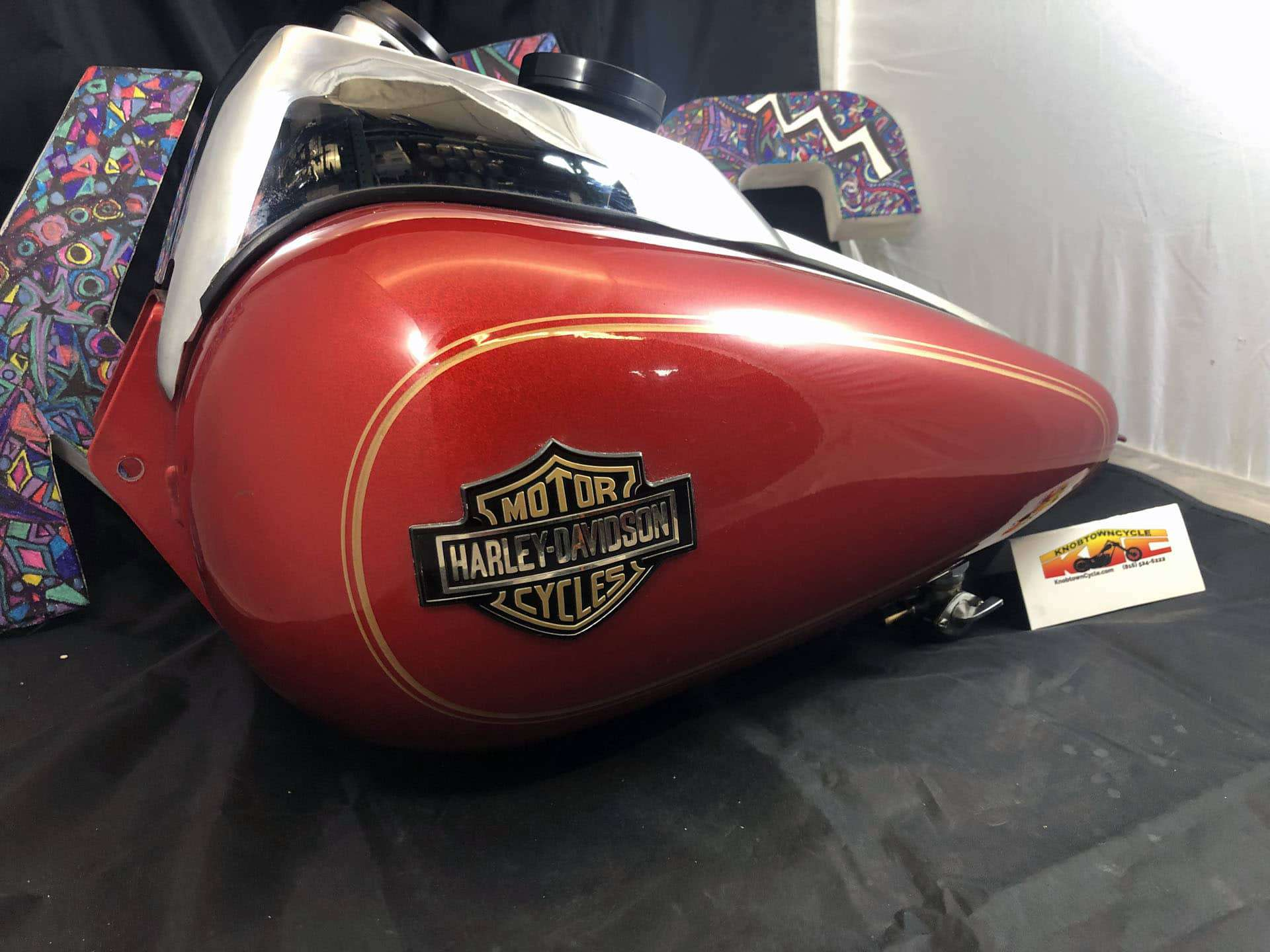 FXR Red with Gold Fuel Tank, FXR Red with Gold Fuel Tank with Gauge for sale., Knobtown Cycle