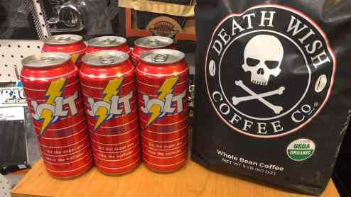 Jolt Cola and Deathwish Coffee available at Knobtown Cycle