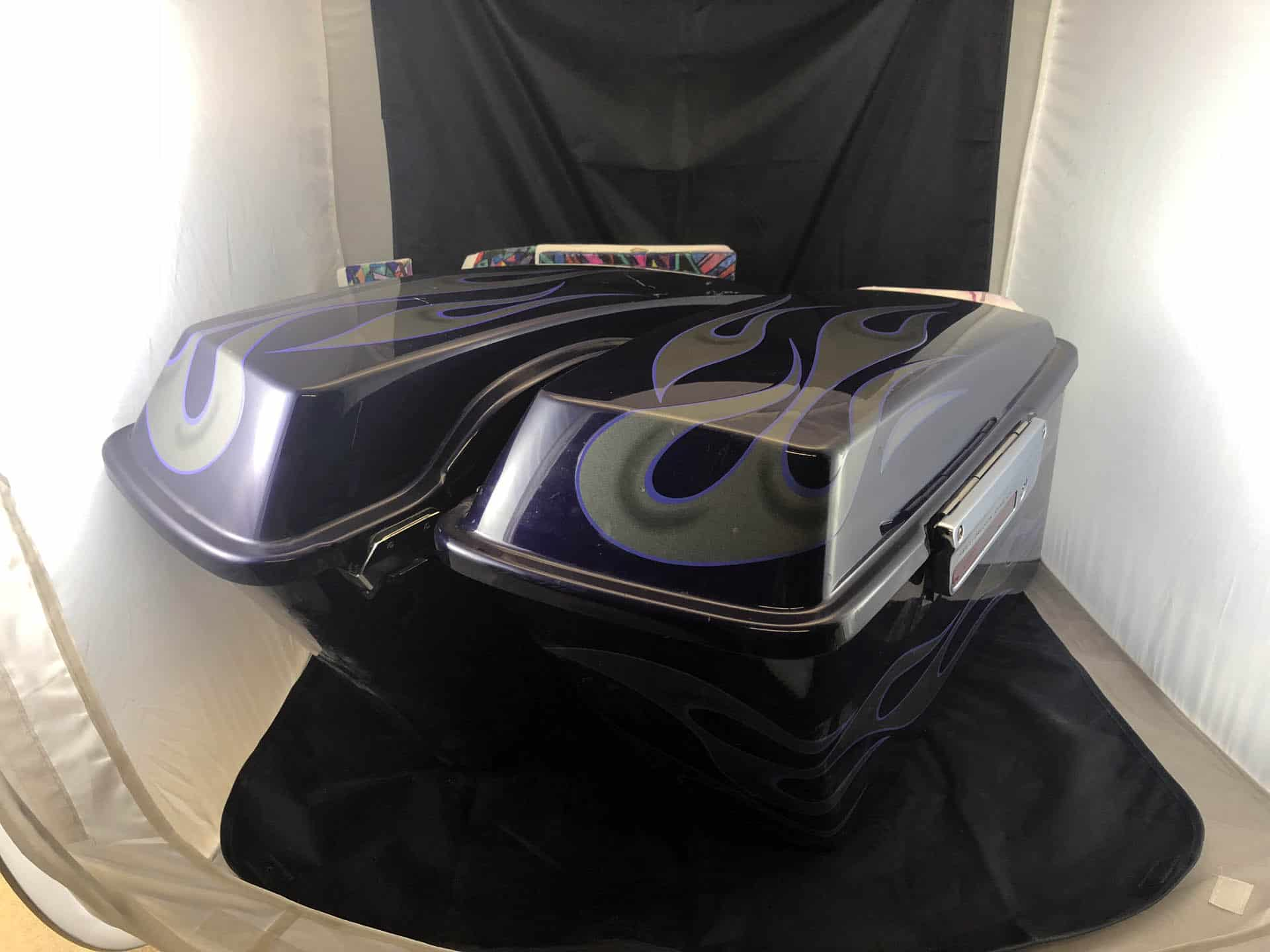 Used Saddlebag Set Purple with Flames Featured Image