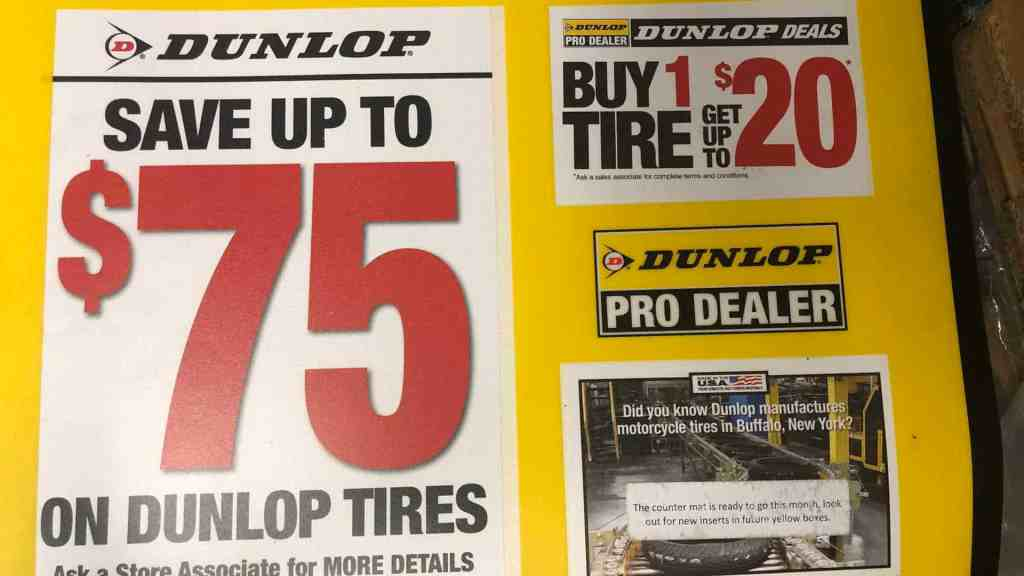 Dunlop Motorcycle Tires on sale in March and April