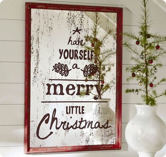 Antiqued Christmas Mirror Makeover