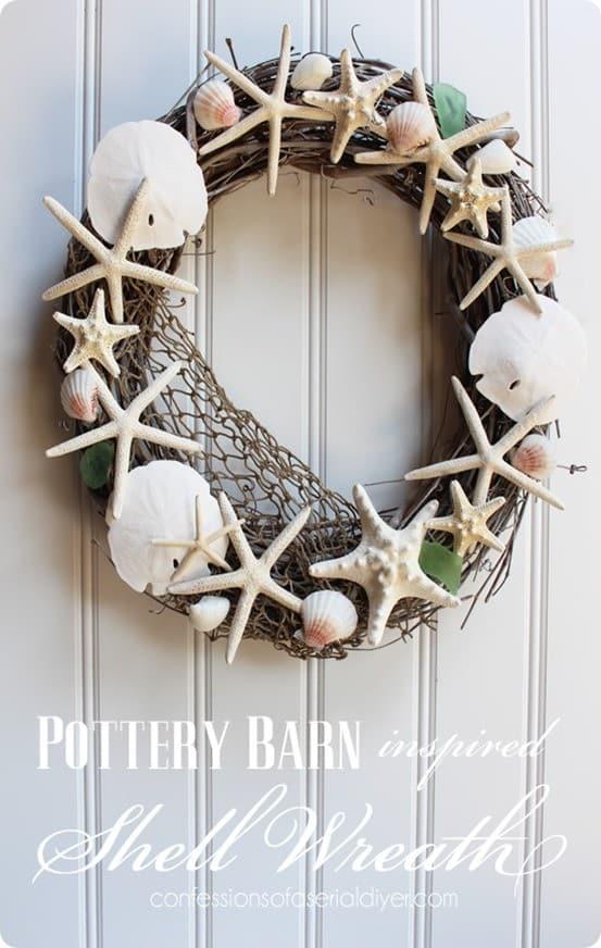 Beachy Shell Wreath For Summer