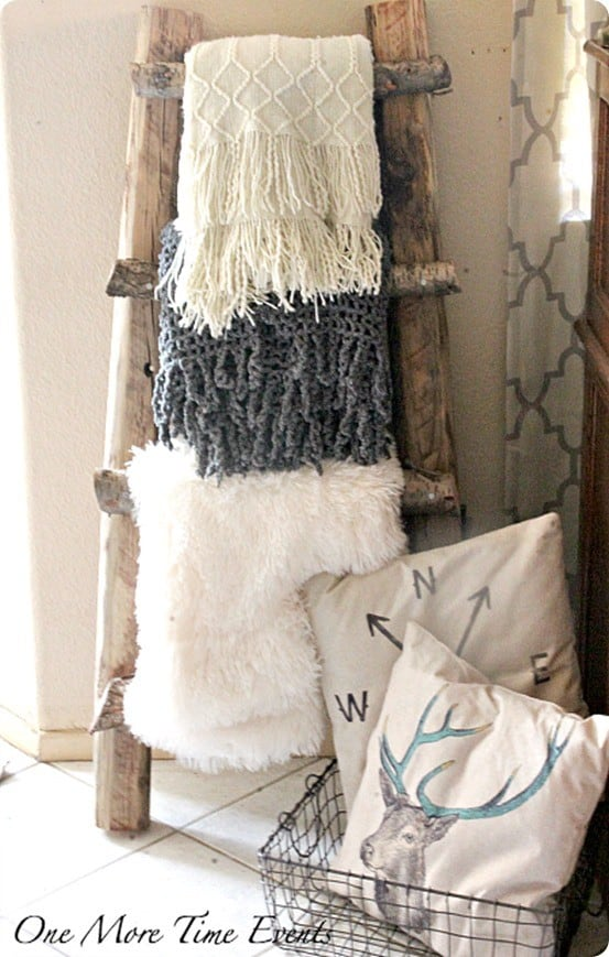 Diy Home Decor Make A Pottery Barn Knock Off Blanket Ladder For Free Using Branches