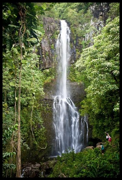 Wailua Falls - Beautiful Scenic Waterfall on Maui, Hawaii