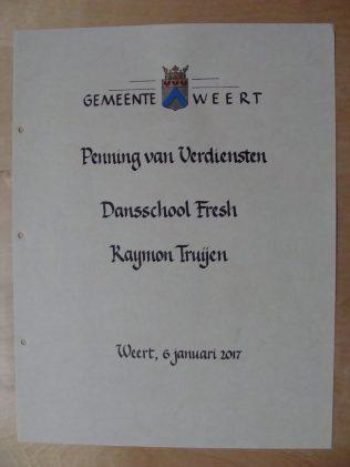 Tekstblad Ereboek - Page Book of Honour