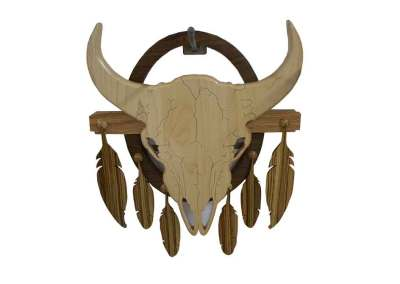 Buffalo Skull with Feathers
