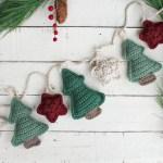 Tree And Star Crochet Christmas Garland Free Crochet Pattern