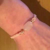 Rose quartz simple macrame bracelet tutorial, pink, diy, handmade, tutorial