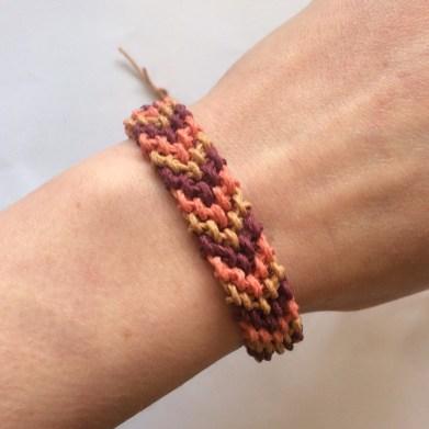 hemp cord friendship bracelet, coral, chevron, chunky