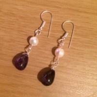pearl and amethyst drop earring diy tutorial