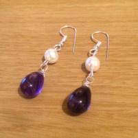 pearl and amethyst drop earring diy tutorial 3