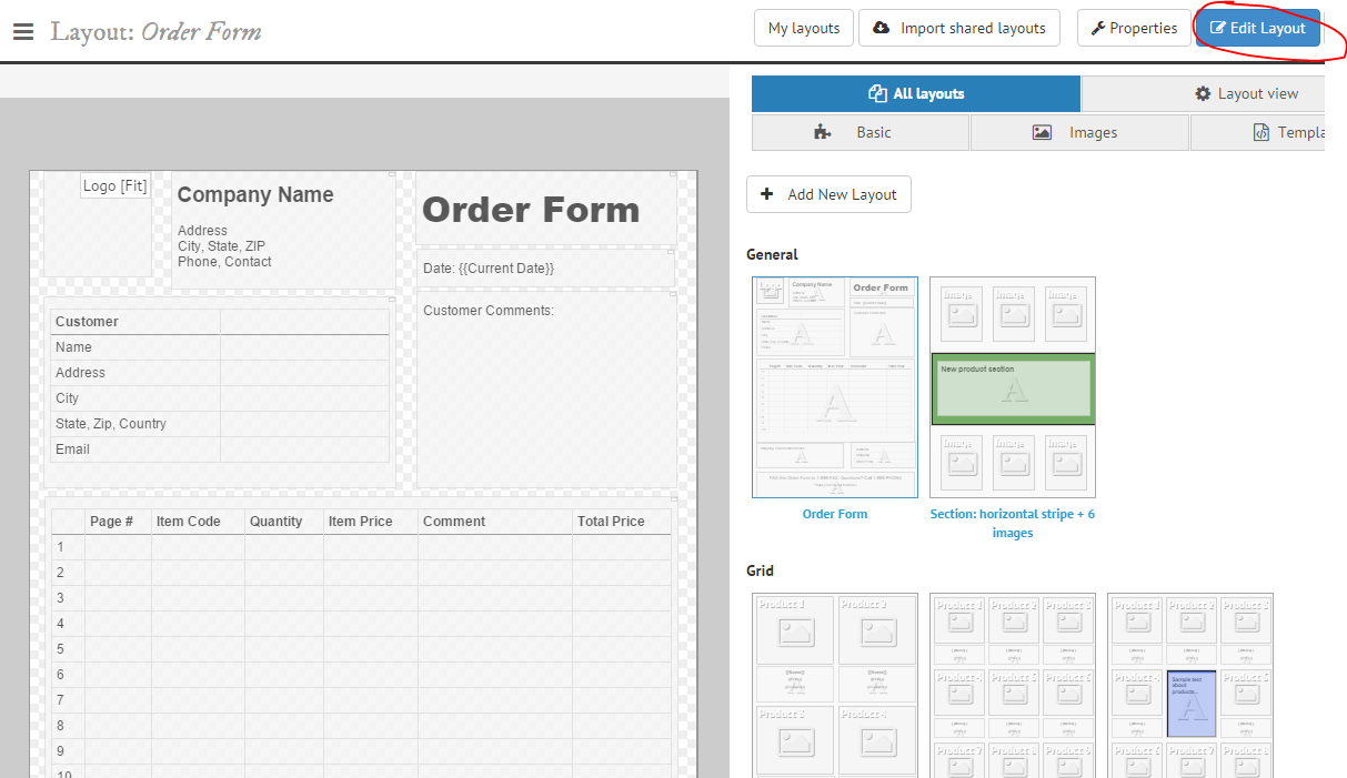 Order Form Layout  Order Form Layout