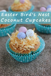 Easter Bird's Nest Coconut Cupcakes