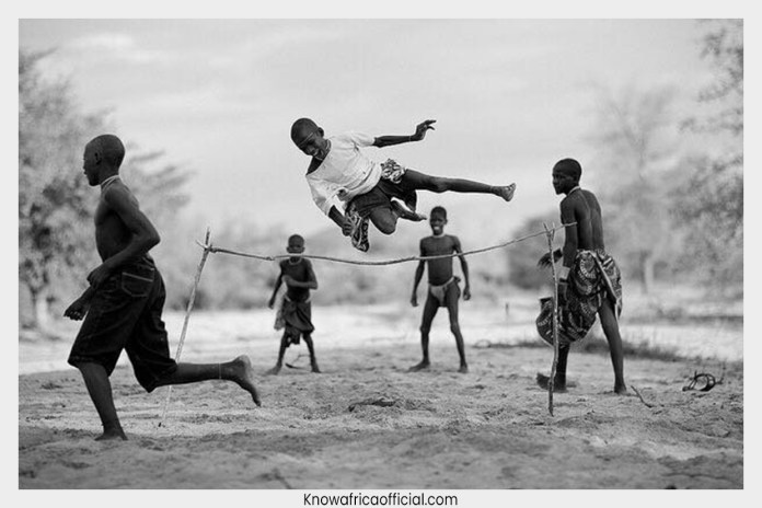 The Forgotten African high jump game. It was the best game in Rwanda before colonialism