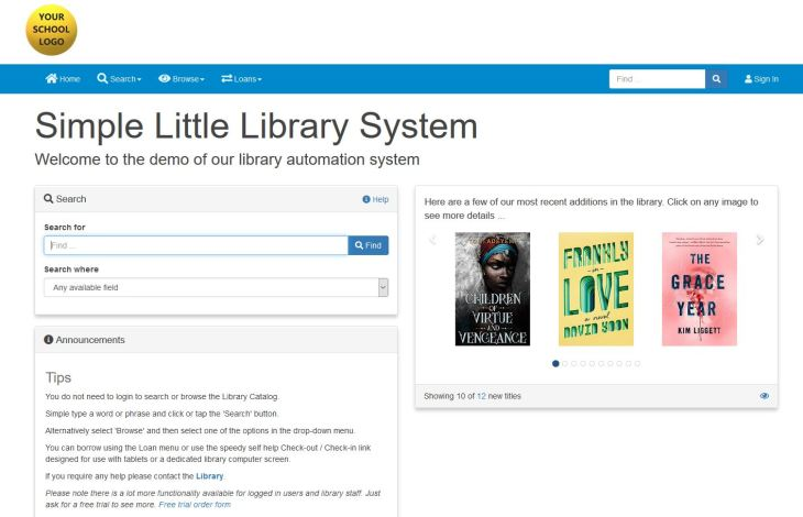 Simple Little Library System OPAC