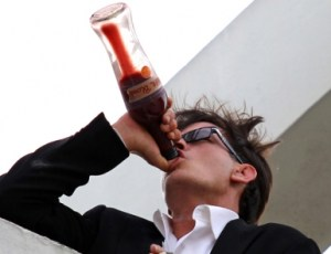Charlie Sheen drinking TigerBlood