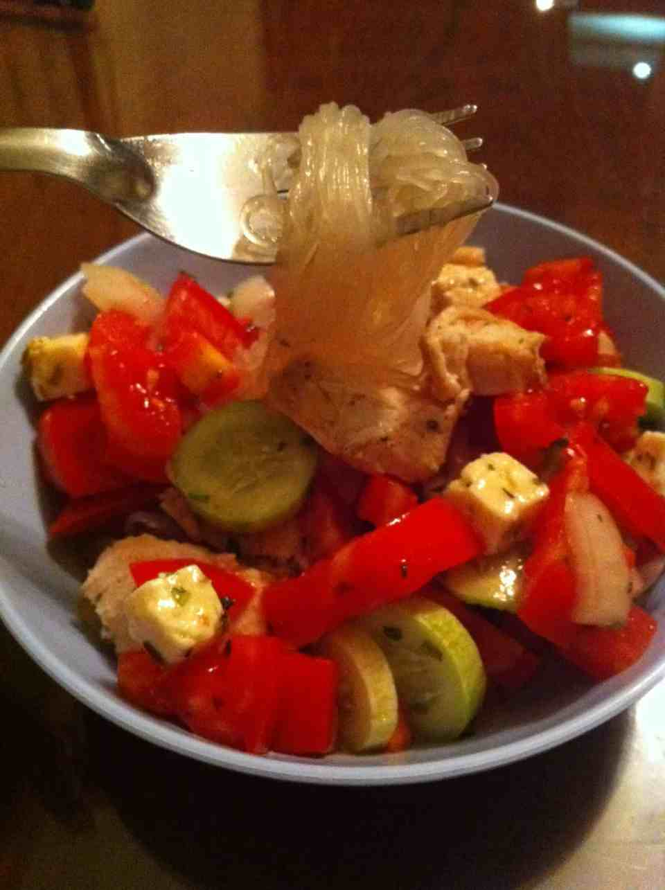 Chicken noodle Greek Salad