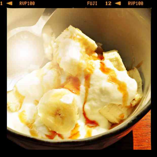 4 quick gluten free banana breakfast ideas from knowgluten.me - bananas with organic yogurt and raw honey with sunburst filter and film frame