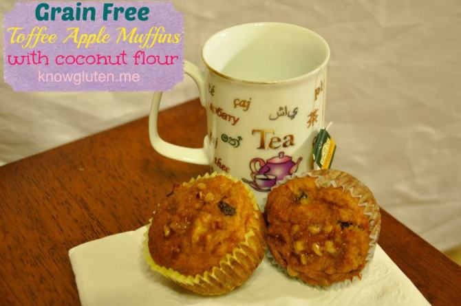 A Grain Free Toffee Apple Muffin would be great with a cup of tea. Click the picture for the recipe.