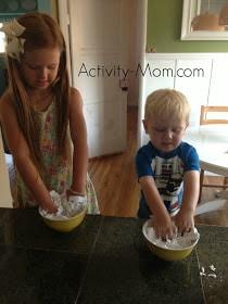 shaving cream and cornstarch cloud dough from activity-mom