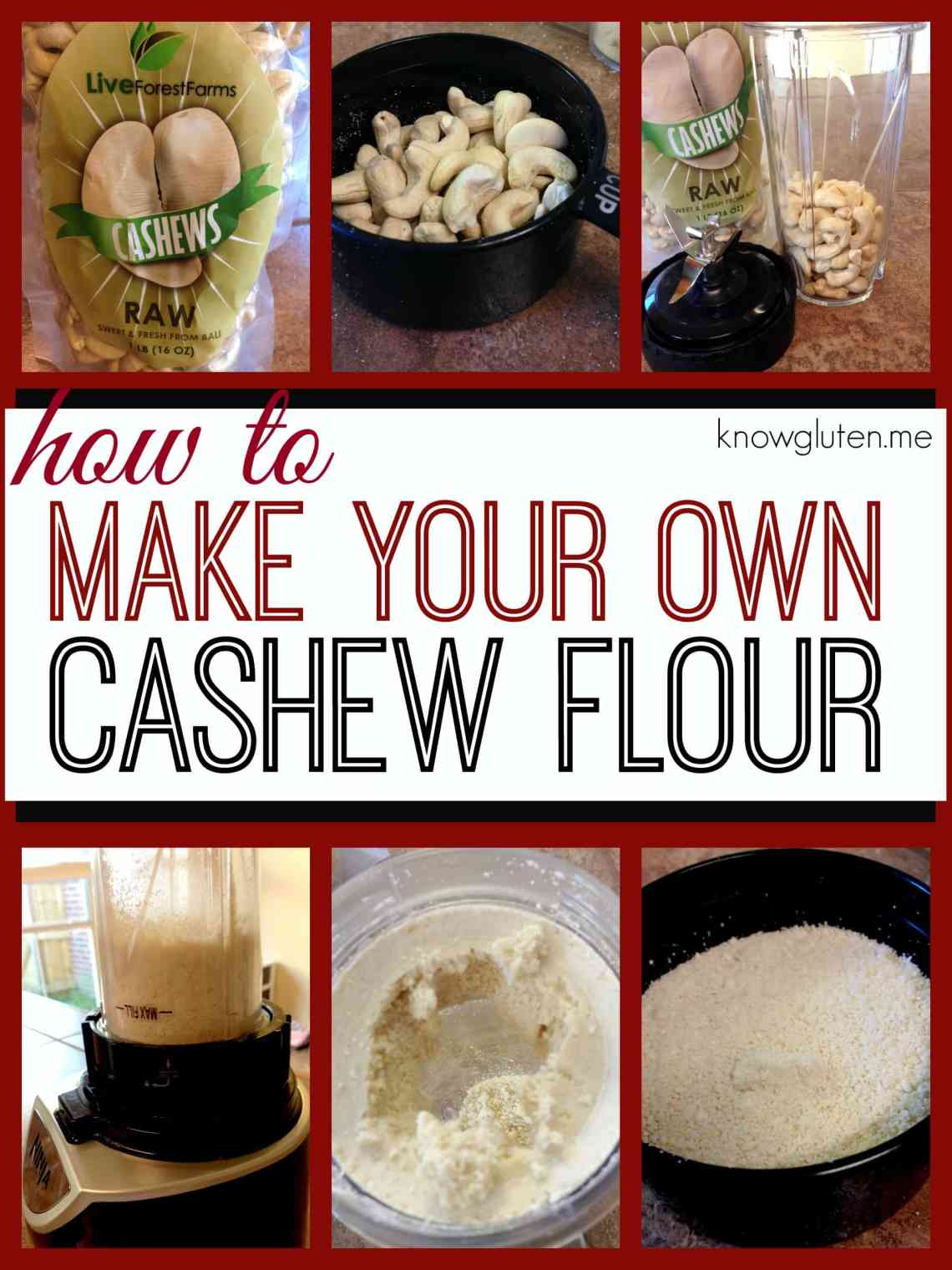 How to Make your own cashew flour - a step by step guide to making your own cashew meal for gluten free baking from knowgluten.me