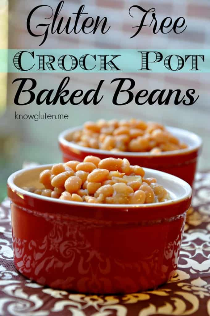 Baked beans in red ramekins on a brown and beige table cloth.