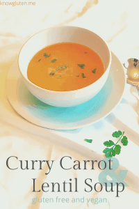 curry carrot and lentil soup - gluten free and vegan side shot of bowl