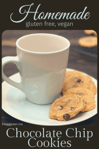 gluten free, vegan chocolate chip cookies from knowgluten.me on a plate with a coffee cup