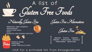 a list of gluten free foods