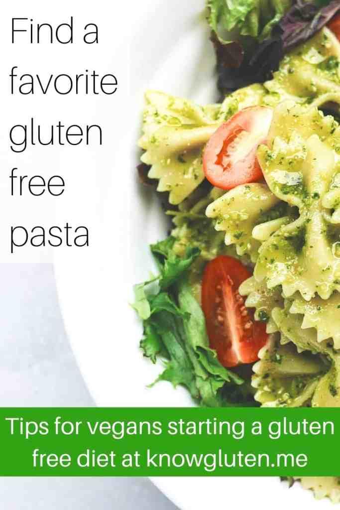 Gluten free vegan pasta with pesto sauce and tomatoes.